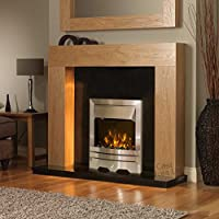 Electric Oak Modern Surround Black Back Panel and Hearth Silver Fire Suite Wall Fireplace Large 54""