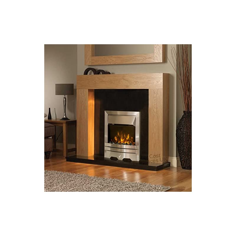 Electric Oak Timber Surround Black Silver Flame Fire Freestanding Wall LED Fireplace Suite 48″
