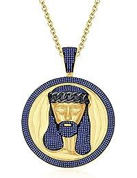"Silvernshine Men's 1.40 Ct Round Tanzanite Jesus Face Pendant 18"" Chain In 14K Yellow Gold Fn"