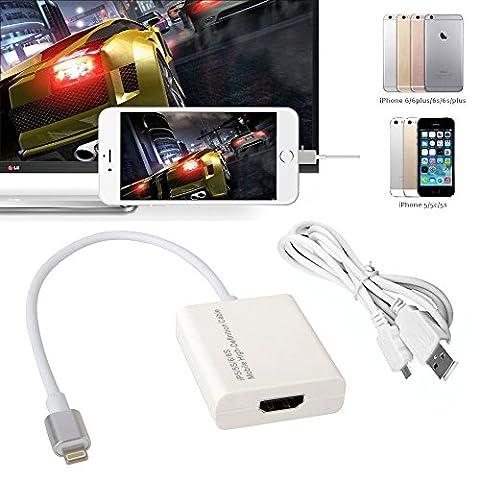 CABLING® adaptateur haute définition pour smartphone apple iphone 5 6 7 vers télé HDMI