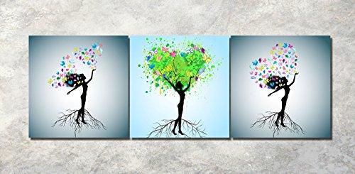 LB Vier Jahreszeiten Baum Baum des Lebens abstrakte Mädchen Pflanze Blume Schmetterling Bild Druck auf Leinwand Wandkunst für Wohnzimmer Schlafzimmer Dekoration 3 Stück 40x40 mit Rahmen