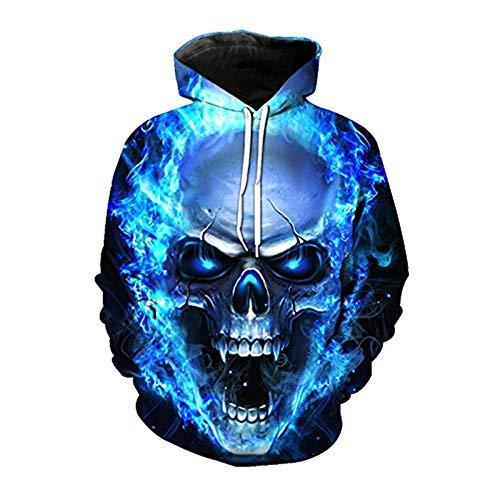 Screenes Eur Hoodie Skull 3D Sweatshirt Punk Fire Hoody Plus Sizes Hip Hop Unisex Pullover Mit Grossen Taschen Tops (Color : YH00343, Size : M) Punk Skull Sweatshirt