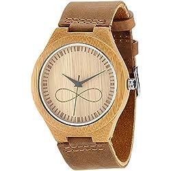 wonbee Herren Bambus Holz Uhren INFINITY Sign Design mit genarbtem Leder Gurt