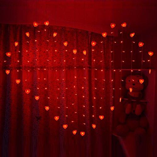 COOSA 2x1.5m la forma del corazón de las luces de Navidad 124 LED de hadas de la secuencia Luces de Navidad de la boda Decoración luces de la cortina (nuevo forma de corazón, 2 rojo)