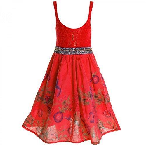 ze Kleid Peticoatkleid Festkleid Sommerkleid Kostüm 20423, Farbe:Rot;Größe:140 (Elsa Kostüm 10)