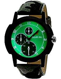 Golden Bell Original Chronograph Look Green Dial Analog Wrist Watch For Men - GB-616