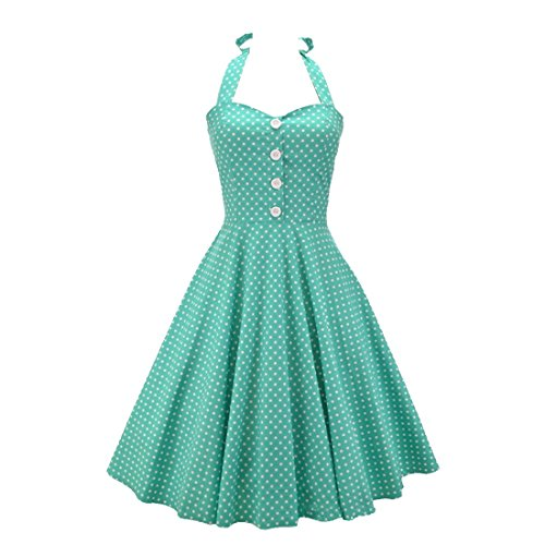 partiss Mesdames Hepburn Rétro Années 50Pois dos nu rangée Rockabilly robe jupe bulle green