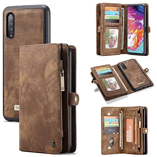 JDDRCASE Multifunktionale Reißverschluss Geldbörse Split Typ abnehmbare Design Flip hochwertige PU-Leder Geldbörse mit Kartensteckplätze Fall für Samsung Galaxy A70 (Farbe : Braun) Flip-typ