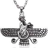Silber PT doppelseitig faravahar Halskette Kette iranischen Persischen Geschenk, silber, Large