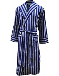 Lloyd Attree & Smith Men's Lightweight Cotton Dressing Gown - Blue/White Stripe