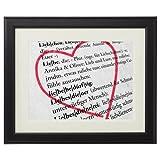 Definition von Liebe – Personalisiertes Bild mit [NAMEN] – Kunstdruck im schwarzen Echtholzrahmen – Geschenkidee zum Valentinstag – Geschenke für Verliebte – Rahmengröße: 23 x 30 cm