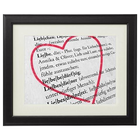 Definition von Liebe - Personalisiertes Bild mit [NAMEN] - Kunstdruck im schwarzen Echtholzrahmen - Groß