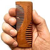 Peigne à barbe en bois de qualité | Le meilleur peigne à barbe et à moustache pour hommes | Double dents | Réalisé à la main pour un produit de très haute qualité