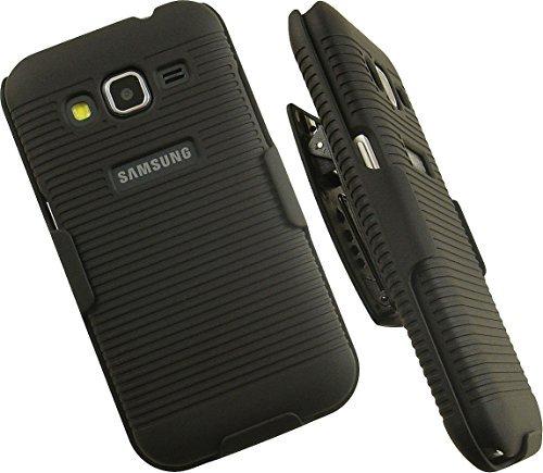 nakedcellphone 's Black Rubberized Gerippter Hard Case Cover + belt clip Holster Stehen für Samsung Galaxy Core Prime G360Telefon (Verizon, Boost Mobile, Virgin Mobile, entsperrt, (Aka: Core Prime Duos oder Galaxy Prevail LTE) sm-g360, sm-g360g, sm-g360h, sm-g360F, sm-g3606, sm-g3609, etc.) Clip Hard Case Cover