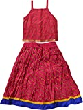 Decot Paradise Girls' Lahariya Print Lehenga Choli Suit (KID103, Pink, 3-4 Years)