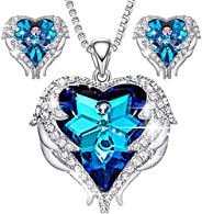 CDE Angel Wing Heart Necklaces and Earrings Embellished with Crystals from Swarovski 18K White Gold Plated Jew