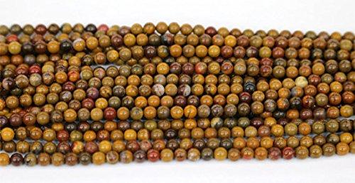 "1hilos Natural amarillo madera petrificada Jasper redondo sueltos pequeñas perlas 3mm 15""03560"