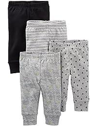 Simple Joys by Carter's pantalón para bebé, paquete de 4 ,Black/Gray/Dino/Anchor ,Recién nacido