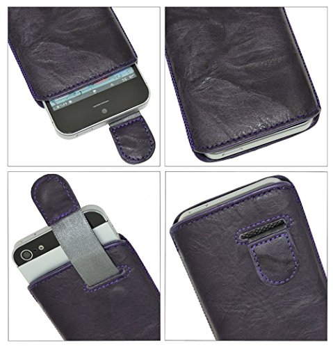 Suncase Ledertasche mit Rückzugsfunktion für das Apple iPhone 5 / 5S in schwarz dunkellila / wash