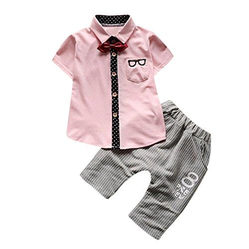 Hunpta Neugeborene Kleinkind Baby Gläser Oberseiten Hemd Kurzschluss Hosen Bindung Ausstattungs Set Kleidung (70CM, Rosa)