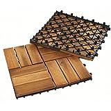 Bodenfliesen JEFFERSON 11er Set 1qm 30x30 Akazie geölt Holzfliesen Terrassenfliesen Balkonfliesen