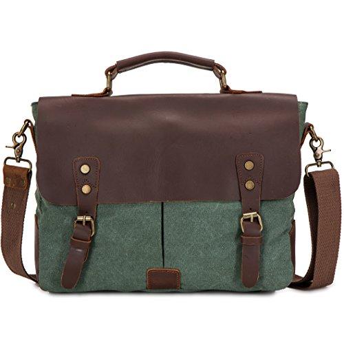 DoubleMay Herren Männer Vintage Retro Canvas Leder Aktentasche Messenger Bag / Umhängetasche / Business Bag/ Laptop Tasche / Schultertasche ideal für Studium Büro oder Freizeit Outdoor (Grau) Grün