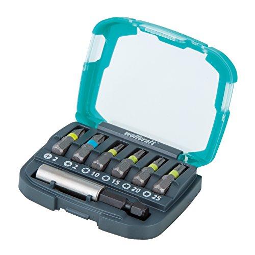 Wolfcraft 2979000 2979000-1 Caja Solid, 7 Pieza: 1 portabrocas magnético y 6 Puntas PH 2 PZ 2 T 10, 15, 20, 25