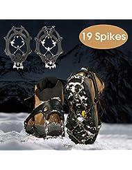 RSWLED Steigeisen für Bergschuhe, 19 Zähne Edelstahl Steigeisen Schuh Spikes Silikagel für Schuhe Wanderschuhe Bergschuhe, Grödel Leicht und Rutschfest, Einsatzbar auf Eisfläche Schneefelder