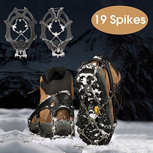 RSWLED Steigeisen für Bergschuhe, 19 Zähne Edelstahl Steigeisen Schuh Spikes Silikagel für Schuhe Wanderschuhe Bergschuhe, Grödel Leicht und Rutschfest, Einsatzbar auf Eisfläche Schneefelder (L)