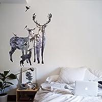 Vinilo decorativo Pegatina de pared Adhesiva Familia de Ciervos motivos Animales para salón, habitaciones…