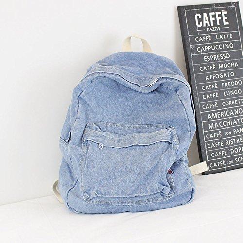Mochila de Jeans Retro Art Institute viento mochila de lona Color puro simple par de bolsa de viaje de gran capacidad 32cm*40cm*15cm, azul claro