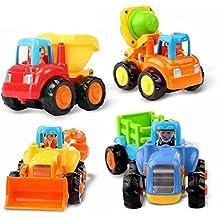 TraderYu Pulse y Go Fricción Conjuntos de coches Juguetes Educación Temprana 1 Año del bebé del Olds 4 de tractor, niveladora, camión del mezclador y camiones para niños y para niños de Niños y