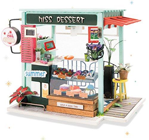 ROLIFE Puppenhaus mit Möbel Miniatur Handwerk Kit Modell 3D DIY Haus Set Eiscreme-Puppenhaus mit Lichter-Beste Geschenk für Erwachsene-Top Spielzeug für Kinder (Ice Cream Station) (Miniatur-licht-set)