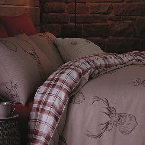 Catherine Lansfield Stags - Juego de funda nórdica para cama, tamano 180X220 cm + 50X125 cm