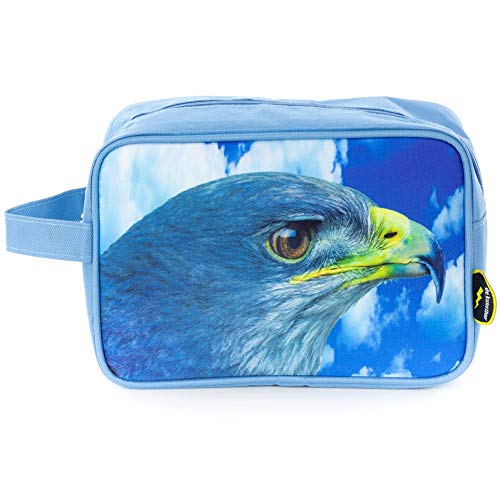 DE KUNSTBOER Jungen Tasche Blau Adler Kulturbeutel Waschbeutel - Größe: OneSize -