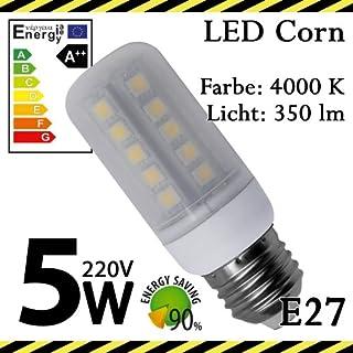 ALMIPEX E27 LED Lampe Korn 5W (350lm - 4500 K - Weiß - 33 x SMD 5050 - 270º Abstrahlwinkel - E27 Sockel - 230V AC - 5 Watt - Ø 32×90 mm)