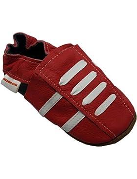 BBKDOM Zapatillas de bebé y niño en cuero suave de calidad superior, de 0 a 5años, color rojo