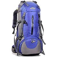 Mochila de 50 litros, ideal para deportes al aire libre, Senderismo, Trekking, Camping Travel, Escalada. Bolso impermeable del alpinismo, Daypacks que suben del recorrido, mochila, mochila (Azul)