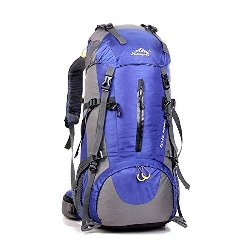 UMEICOOL 50L Wasserdicht Trekkingrucksack Nylon Wandern Rucksack mit Regenabdeckung für Outdoor zum Wandern Bergsteigen Reisen und für Sport und Camping Blau