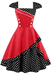 Damen 50er Jahre Vintage Rockabilly Kleid Pin up Cocktailkleid Polka Dots Partykleid Knielang- Gr. L (40), Rot Schwarz