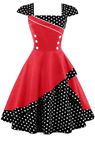 Damen 50er Jahre Vintage Rockabilly Kleid Pin up Cocktailkleid Polka Dots Partykleid Knielang- Gr. M (38), Rot Schwarz