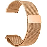 Replacement Metal Bands Watch Straps - Choice of Color & Width (22mm) - Premium Strong Milanese Loop Watch Bands, (Magnetic)-Rose Gold