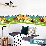 QWERGLL Sticker Mural Bonne Ferme Animal Maison clôture Sticker Mural pour...