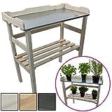 Pflanztisch aus Holz 82 x 78 x 38 cm mit verzinkter Metall-Arbeitsfläche Gartentisch aus FSC zertifiziertem Holz mit Ablagefläche Wetterfest Holzpflanztisch für Garten Balkon und Terrasse, Farbe:Weiß
