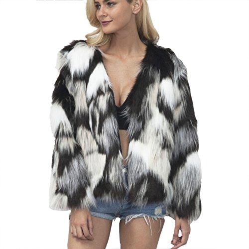 Yuandian donna autunno inverno casuale colori misti v collare corto pelliccia sintetica cappotto morbido caldo elegante ecologica finta pellicce giacca giubbotto beige+nero m