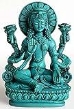 Buddhafiguren - Lakshmi 14 cm Resin türkis die Göttin der Liebe und Fruchtbarkeit, des Glücks, Reichtums und Gesundheit Statue