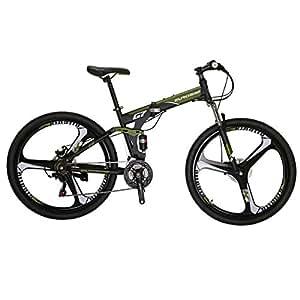 Eurobike G7 Mountain Bike 21 Speed Steel Frame 27.5 Inches 3-Spoke Wheels Dual Suspension Folding Bike Armygreen