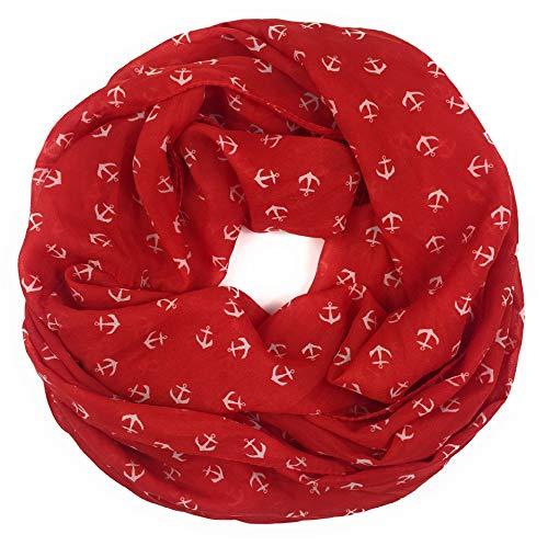 Maritimer Damen-Loop mit Ankern Schal Loop Halstuch Schlauchschal Rundschal Tuch Damen Women Rot