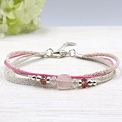 Bracelet cordon multi rangs perles swarovski et pierre de gemmes quartz rose