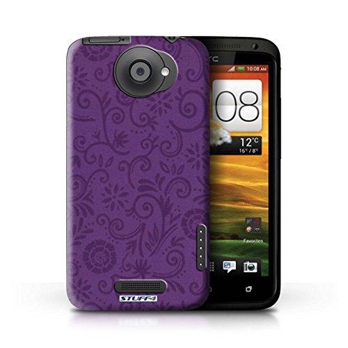 Kobalt® Imprimé Etui / Coque pour HTC One X / Fleur verte conception / Série Motif Remous floral Fleur pourpre
